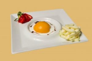 (Huevo frito) Melocotón en almíbar